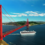 Ship sailing under Golden Gate Bridge