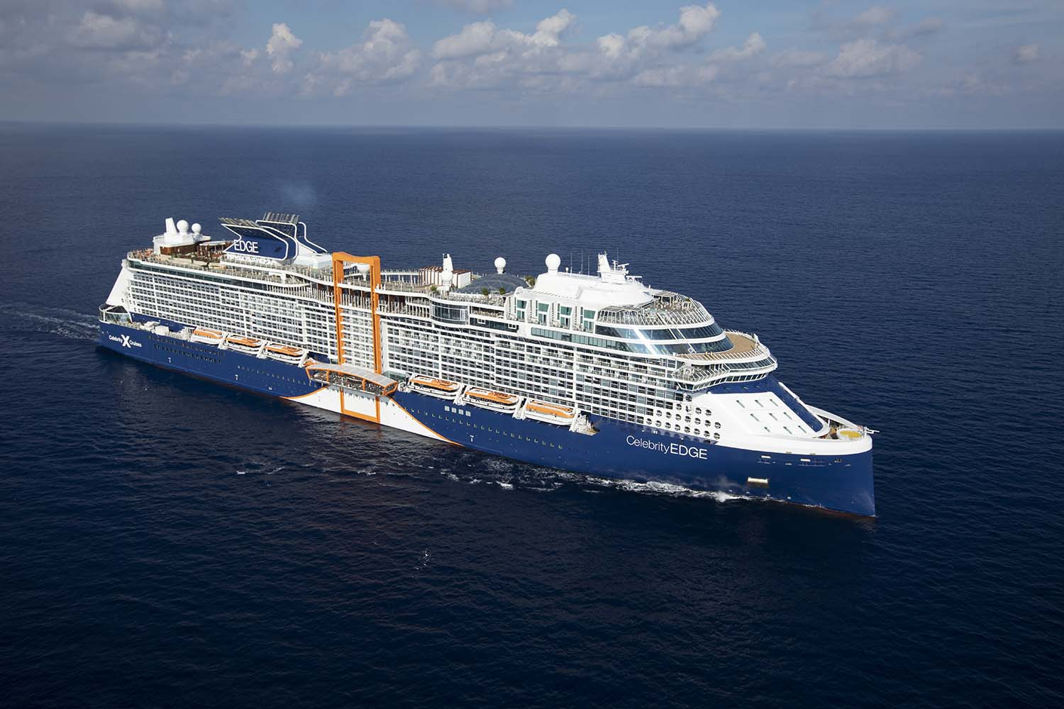 Celebrity Edge, EG, Aerial, ship exterior, water, ship, open ocean, views